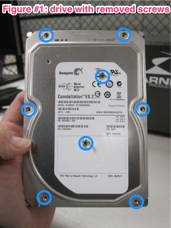 Hard Drive with removed screws