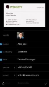 Kontaktinformationen von Visitenkarte in Evernote mit LinkedIn