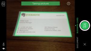 Evernote Kameramodus Visitenkarten Scan
