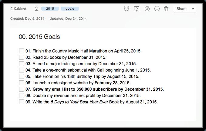 Goal Summary Note