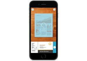 Scannable App Scanning Document on iPhone