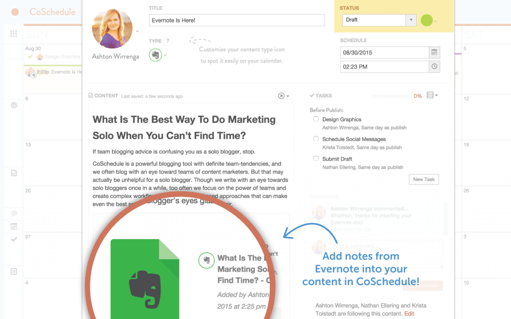 Publish Notes from Evernote to WordPress with CoSchedule