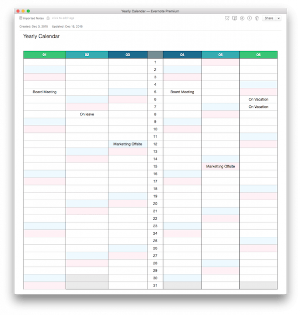 Calendars to Save in Evernote