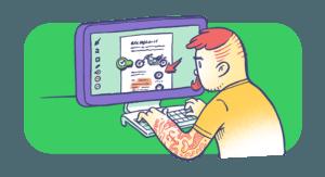 Hipster Man Using Evernote for Desktop