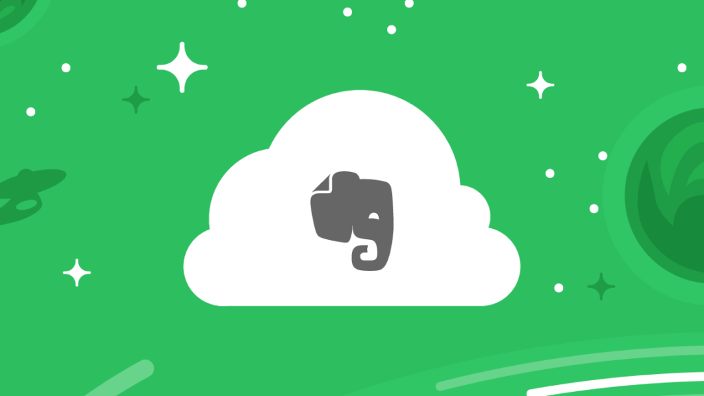 Evernote Elephant in White Cloud on Green Starlit Background
