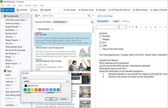 Tag Styles on Evernote for Windows