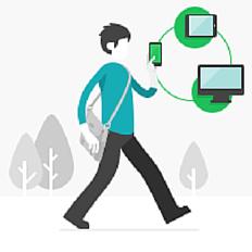 Ilustração de um homem com celular, computador e tablet