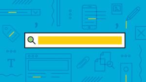 Ilustração de uma barra de pesquisa amarela