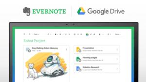 google drive e evernote na tela do computador