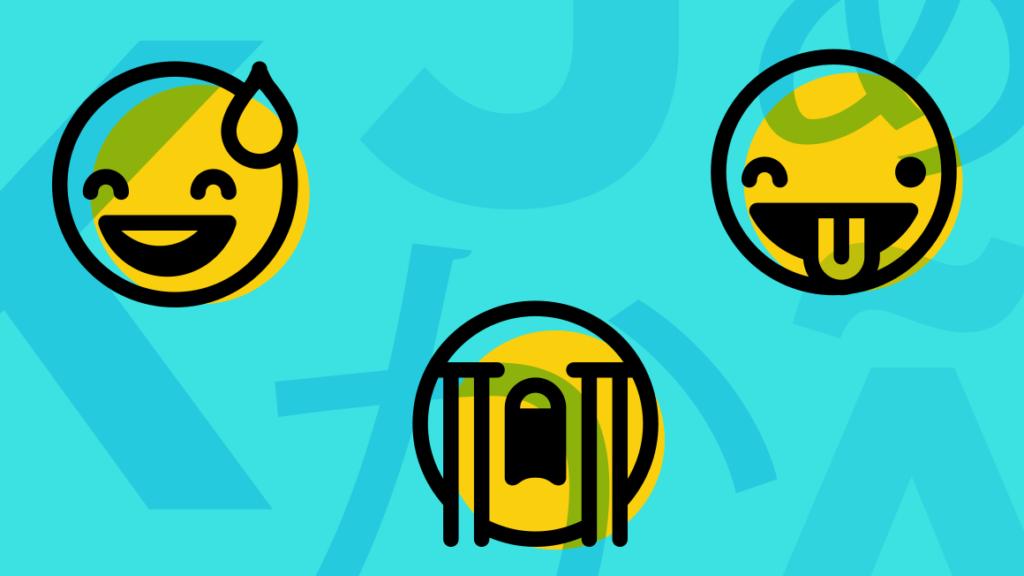 Three Emojis on Blue Background Illustration
