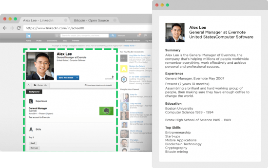Evernote Webclipper on LinkedIn