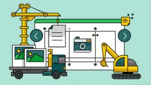 Ilustração de tabelas em construção com máquinas