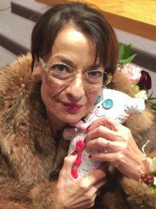 Brian's Mom with the Finished Teddy Bear
