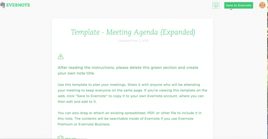 Add Templates to Evernote by Clicking Save to Evernote