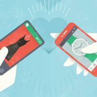 Ilustração de duas mãos segurando celulares usando Evernote