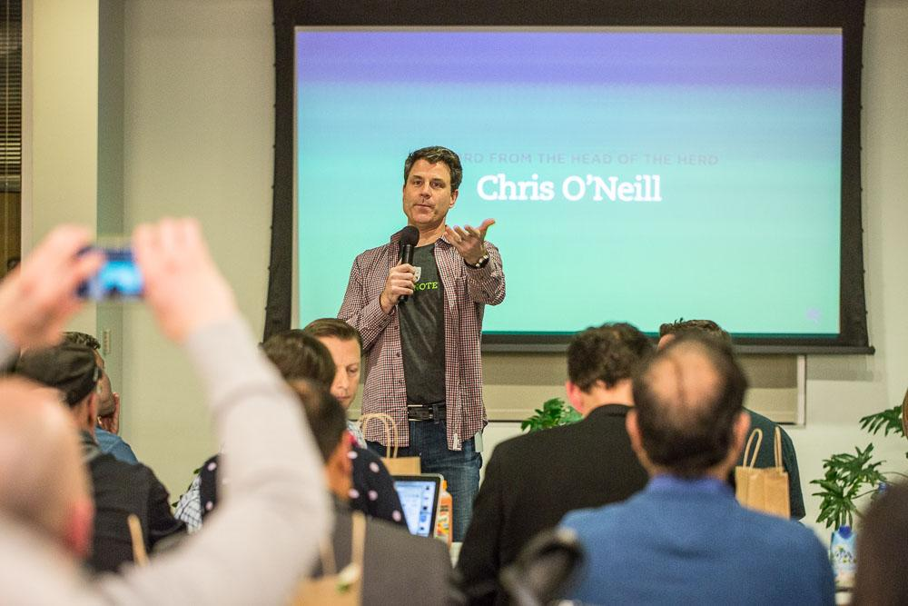 Chris O'Neill Giving a Speech at Evernote HQ Event
