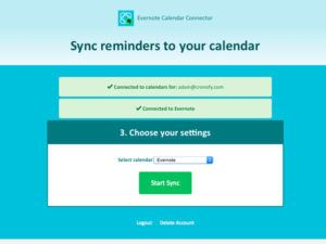Evernote Reminders as Calendar Events