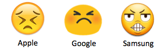 Emoji difference Apple Google and Samsung
