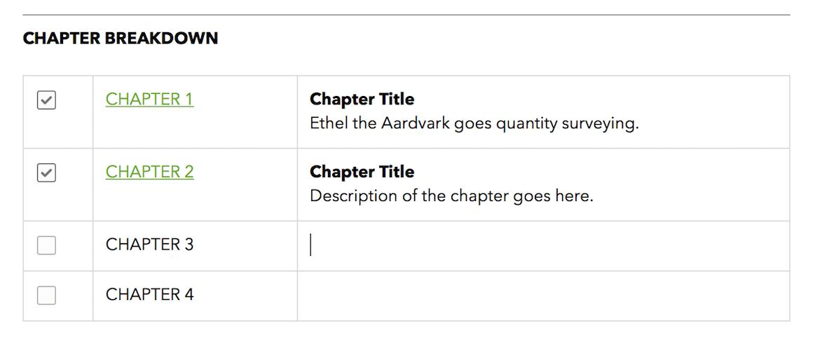 Chapter Breakdown Table