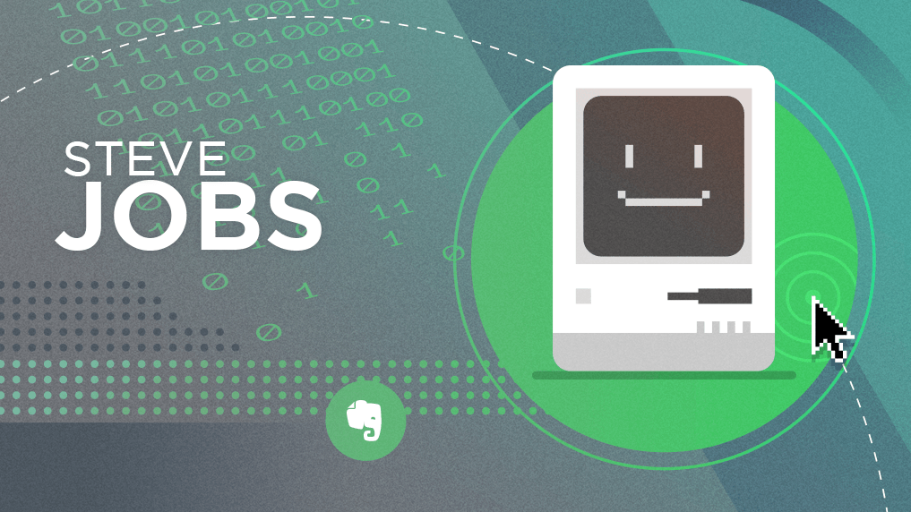 Steve Jobas and Smiling Mac Computer