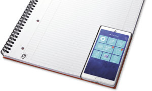 Smartphone with Scribzee App on Notebook