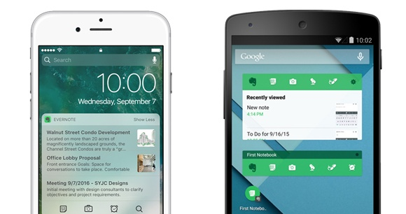 Evernote Widgets iOS and Android
