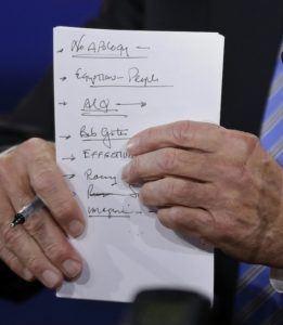 Joe Biden's Notes with Bullet Points