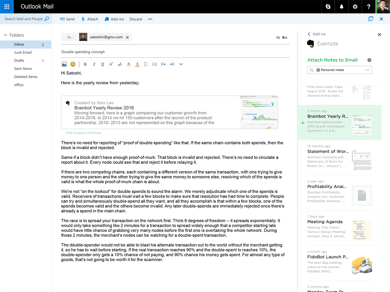 Evernote Notes as Attachments in Outlook