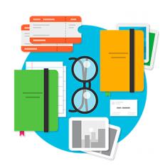Ilustração de alguns cadernos e um óculos