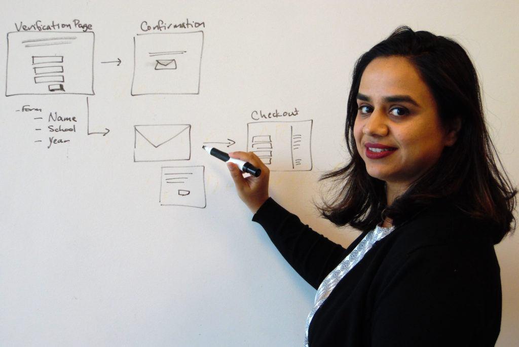 Monica Chua drawing on a white board