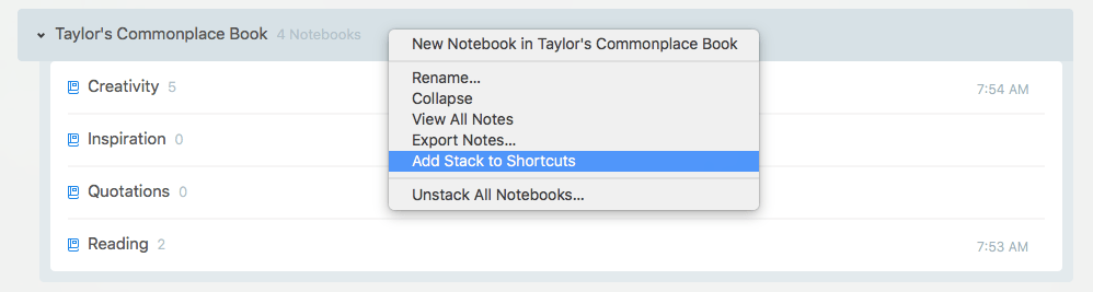 Create Shortcut Stack
