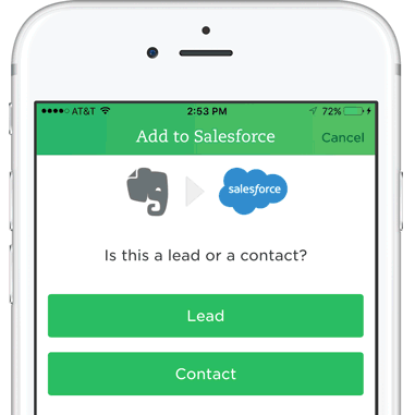 Add Business Card to Salesforce Screen on iPhone with Evernote and Salesforce Logos