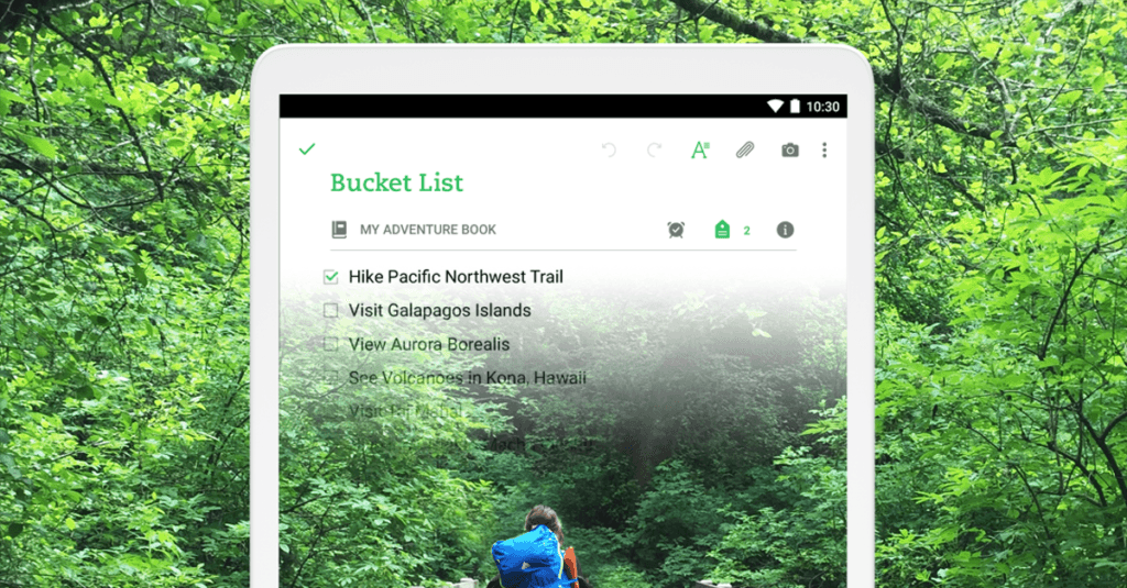 Travel Bucket List in Evernote