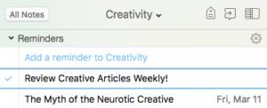 Creativity Notebook Reminder