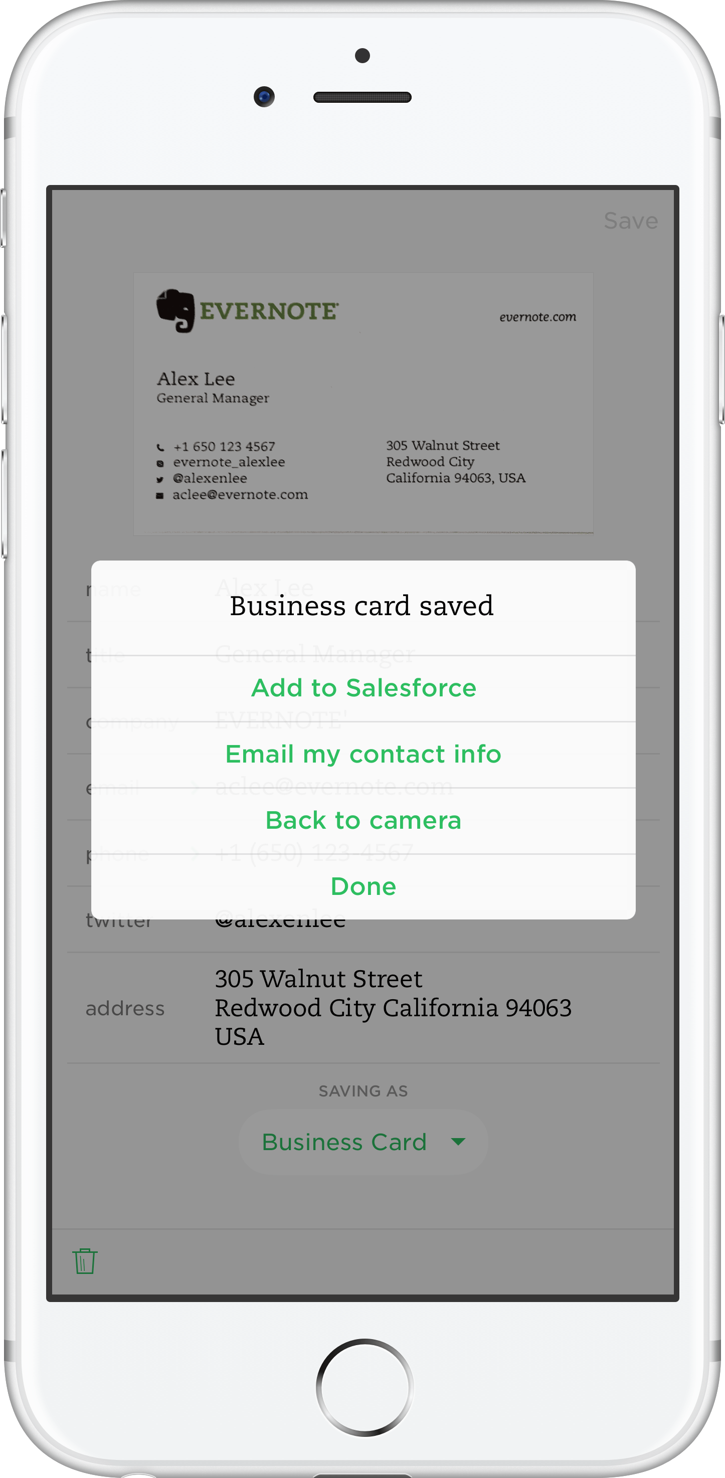 save business cards scanned with evernote in salesforce - Salesforce Business Card Scanner
