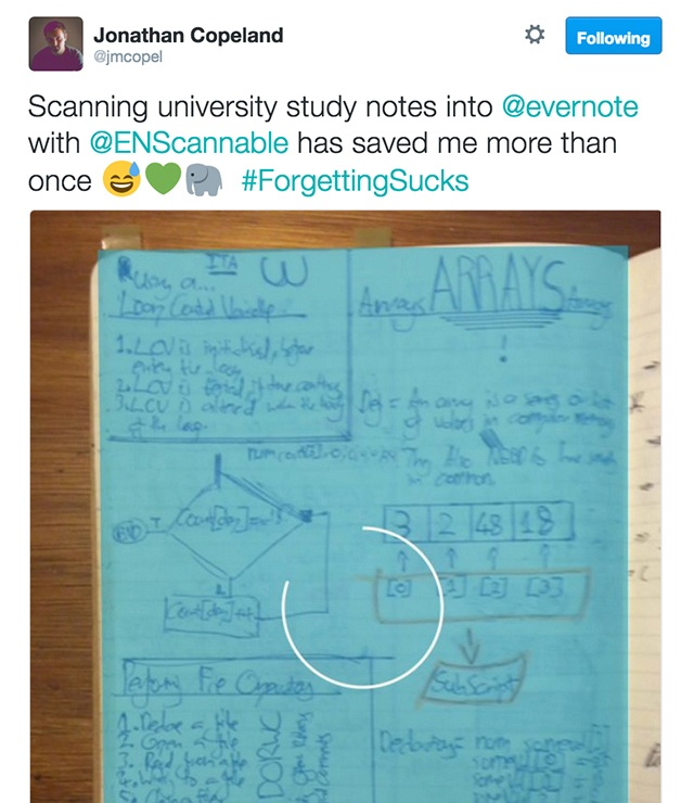 Scanning handwritten lecture notes