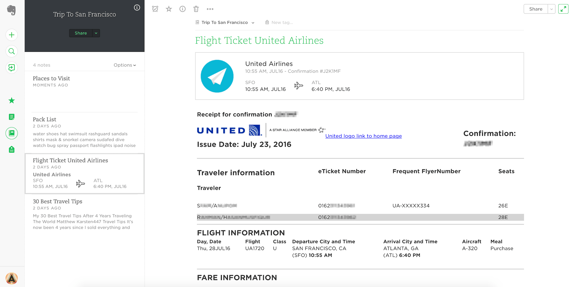 Flight Ticket in Evernote