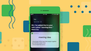 An iPhone screen showing Siri taking a note in Evernote.