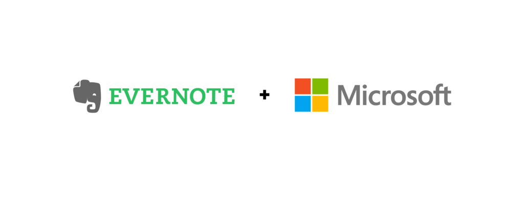 Evernote and Microsoft logos side by side.
