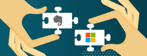 Illustration of hands holding the Evernote and Microsoft logos.