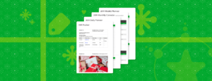 4 templates from the Evernote Holiday Collection on a wrapping paper background.