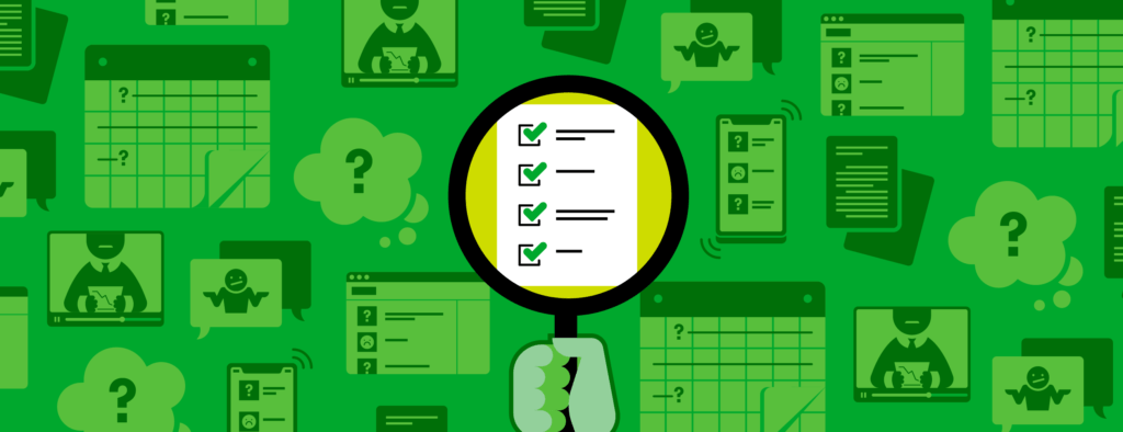 Illustration of a person using a magnifying glass to focus on a checklist.
