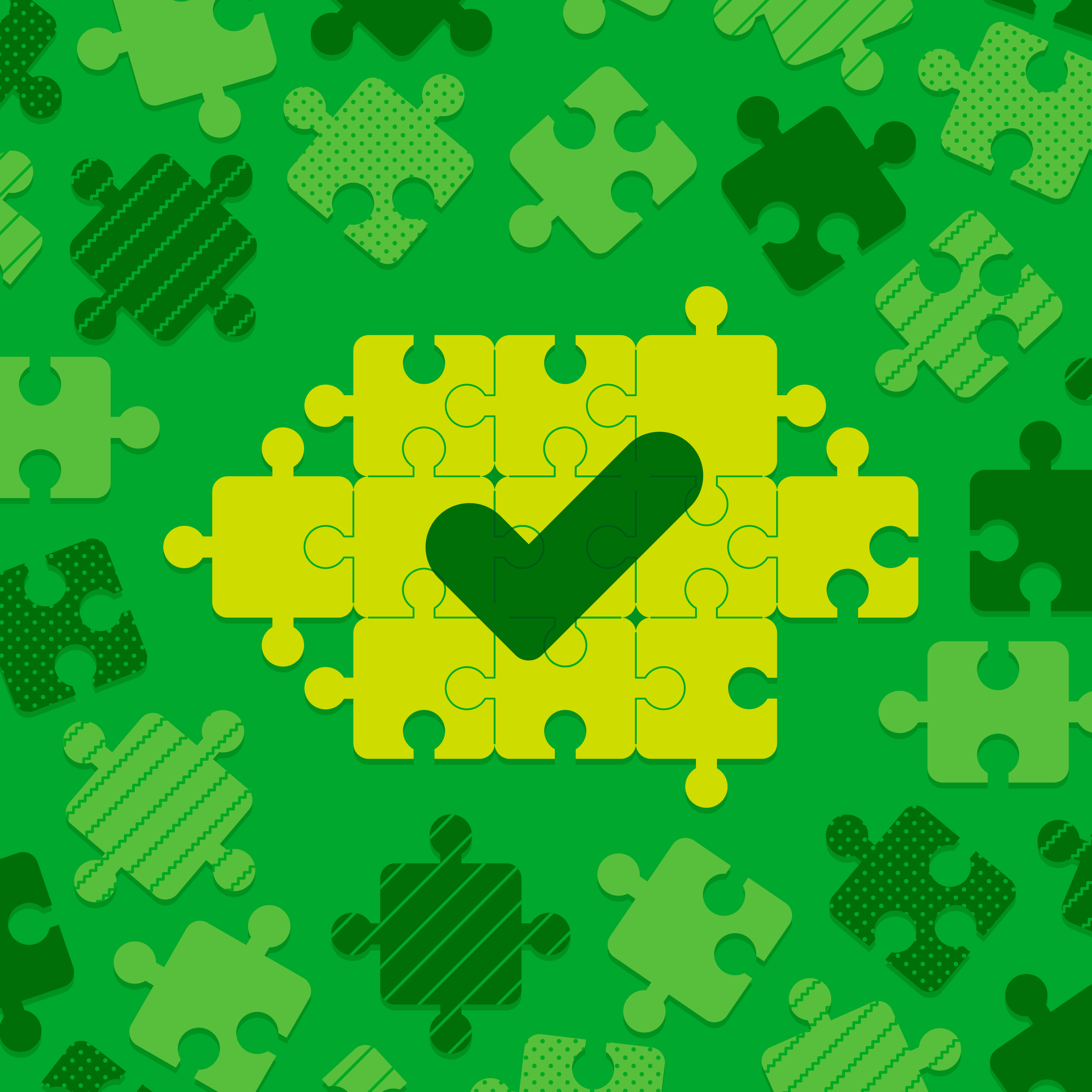 Illustration of puzzle pieces coming together to represent getting organized.